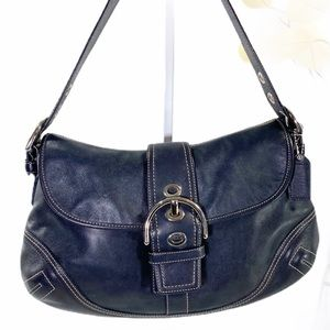 Coach Black Hobo signature Leather Purse F10192